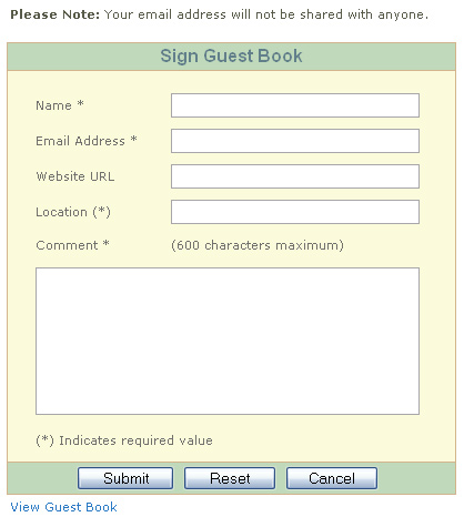 ASP.NET 2.0 Guest Book Application