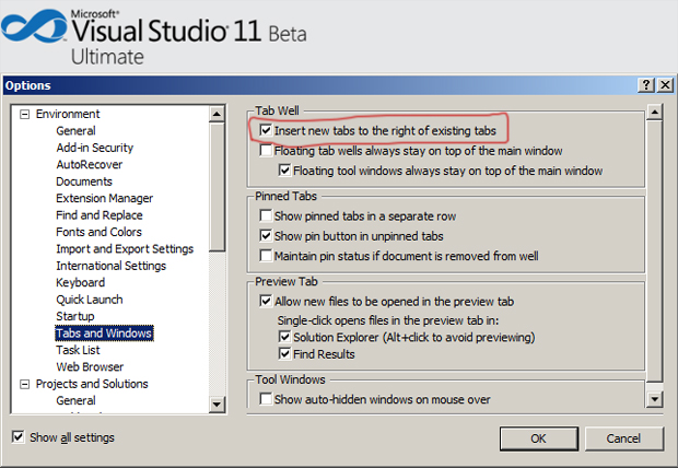 Visual Studio 2011 Beta Tab Options